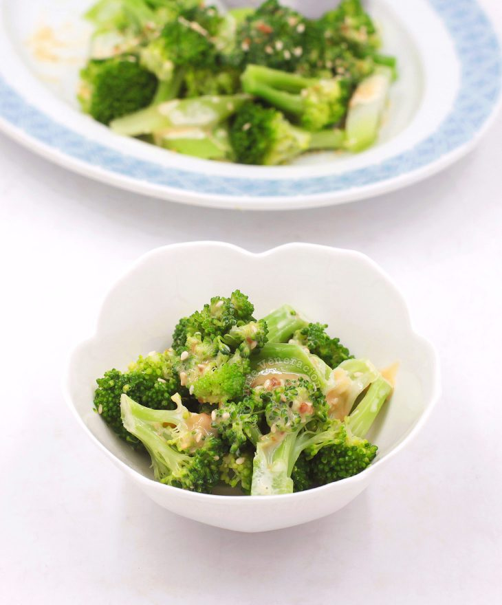 Miso Mayo Broccoli in Small White Bowl