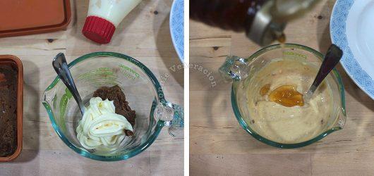 Mixing miso mayo dressing