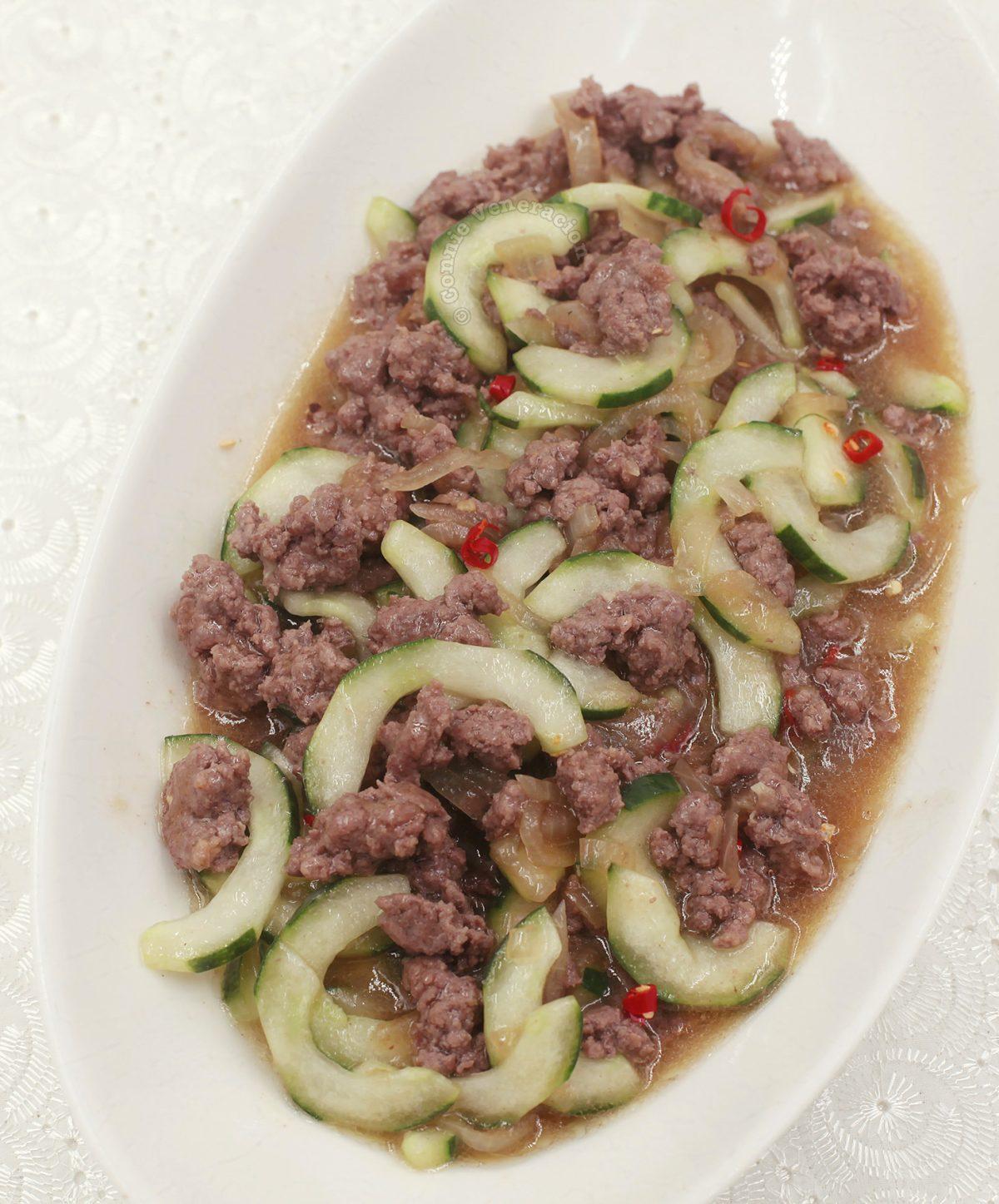 Cucumber and Ground Pork Stir Fry