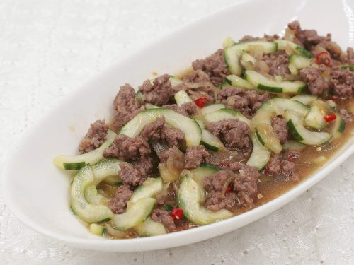 Cucumber and Ground Pork Stir Fry in a Serving Bowl