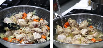 Pouring broth over browned chicken in wok