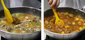 Stirring roux into Japanese chicken curry