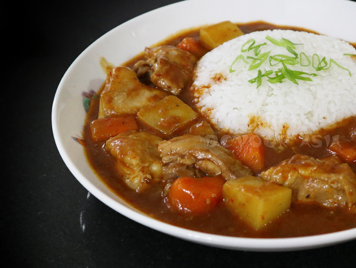 Japanese Chicken Curry with Rice in Bowl