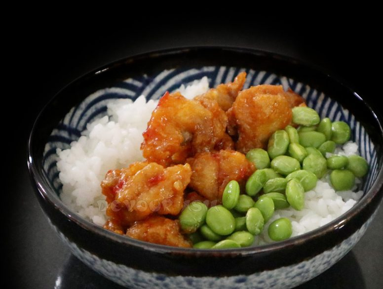 Sweet Chili Chicken Karaage and Shelled Edamame Over Rice