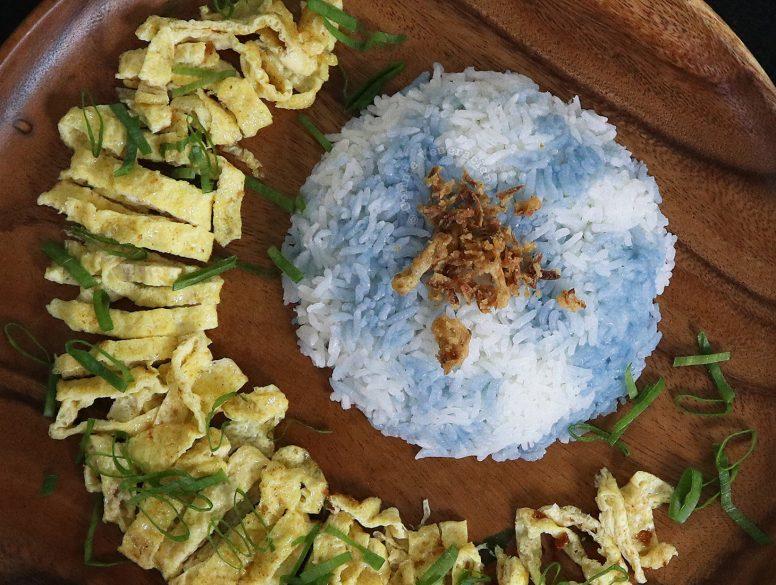 Nasi Kerabu (Malaysian Butterfly Pea Rice)