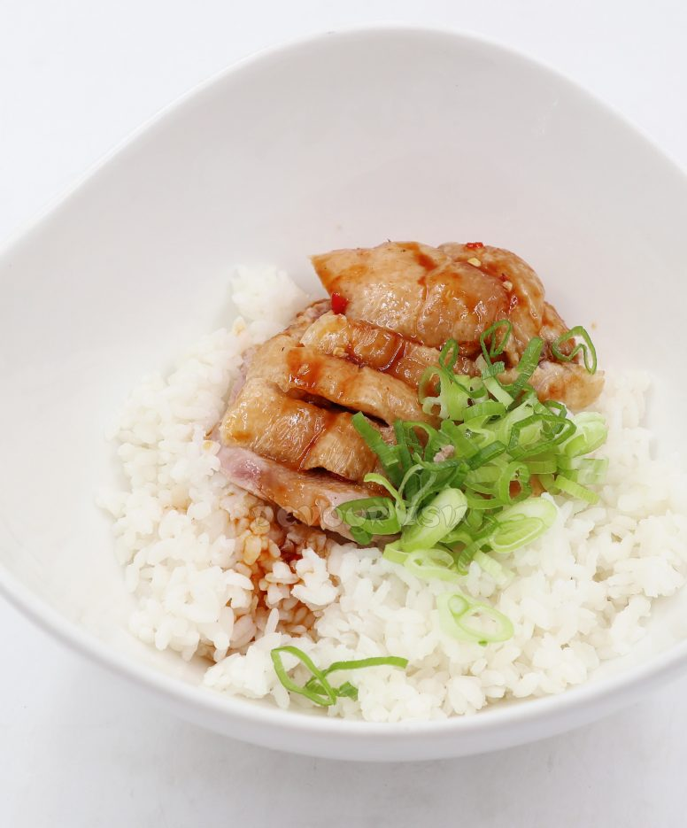 Roast duck over rice served with sauce and sliced scallions
