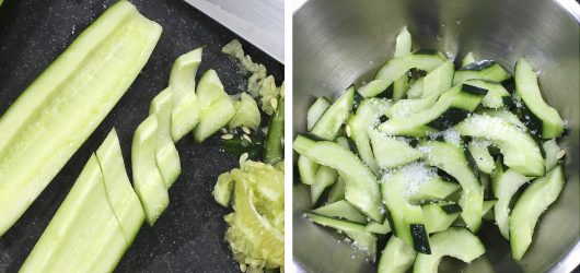 Prepping and salting cucumber for a stir fry