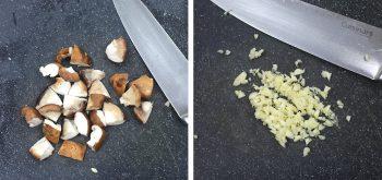 Dicing shiitake and mincing garlic