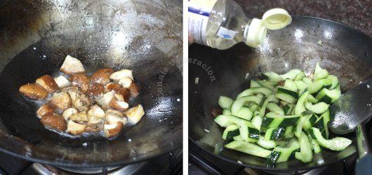 Adding rice wine to Cucumber and Mushroom Stir Fry