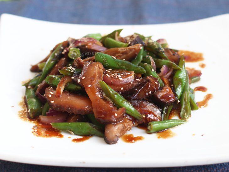 Shiitake Green Beans Teriyaki, Plated