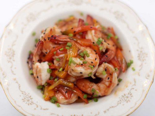Sichuan Shrimps with Plum Sauce