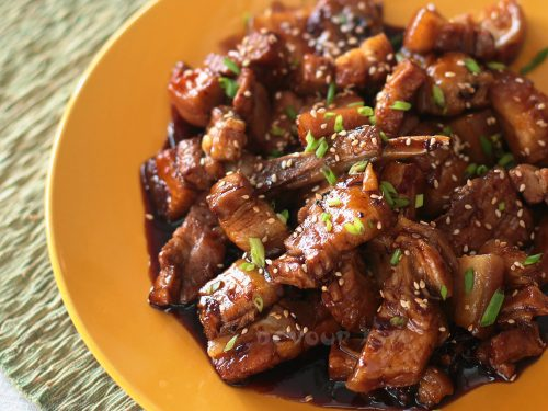 Sticky Sichuan Pork in Platter