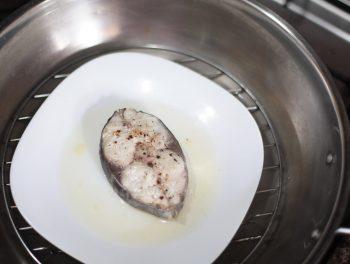 Fish steak in steamer
