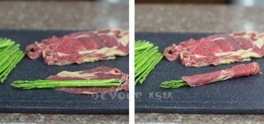 Wrapping Asparagus with Thin Slices of Beef