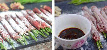 Sprinkling Asparagus wrapped with Beef with Flour