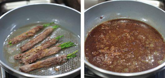 Searing Beef-wrapped Asparagus / Simmering teriyaki sauce