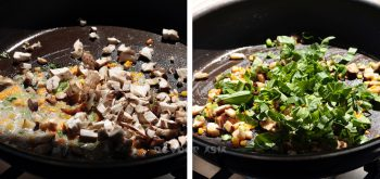 Sauteeing Mushrooms and Vegetables for Thai Stuffed Omelette (Khai Yat Sai)