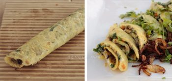 Thai Stuffed Omelette (Khai Yat Sai) Before and After Slicing
