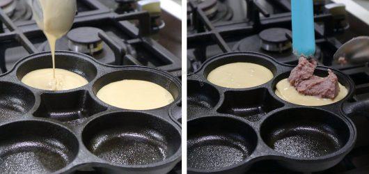 Dropping ube jam on pancake batter in pan