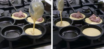 Pouring pancake batter into pan