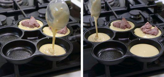 Pouring pancake batter into pan