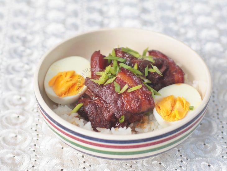 Japanese Braised Pork Belly (Buta no Kakuni) Sprinkled with Scallions