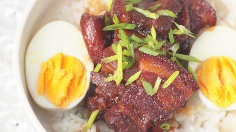 Japanese Braised Pork Belly (Buta no Kakuni) and Hard Boiled Eggs Over Rice