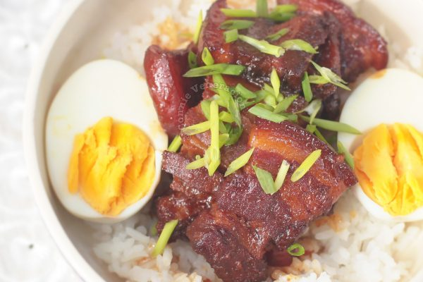 Japanese Braised Pork Belly (Buta no Kakuni) and Hard Boiled Eggs Over Rice