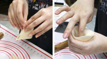 How to make samosa, step 3: Shape the cut dough into a cone