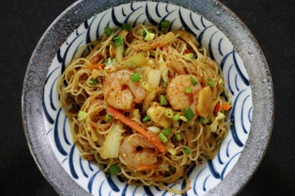 A bowl of Singapore Noodles (Curry Bee Hoon)