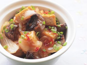 Mushrooms and Tofu With Lemongrass Chili Sauce in Bowl