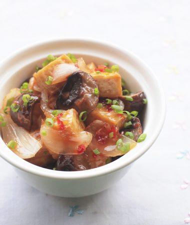 Mushrooms and Tofu With Lemongrass Chili Sauce in Bowl