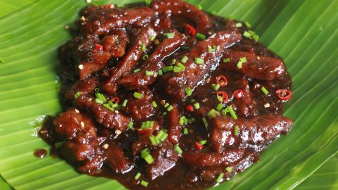 Balinese Beef Strips (Daging Masak Bali) Served on Banana Leaf
