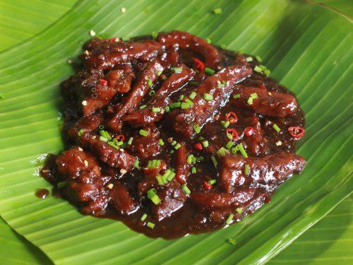 Balinese Beef Strips (Daging Masak Bali) Served on Banana Leaf