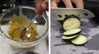 Making garam masala batter and slicing eggplants