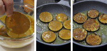 Frying eggplant slices dipped in garam masala batter