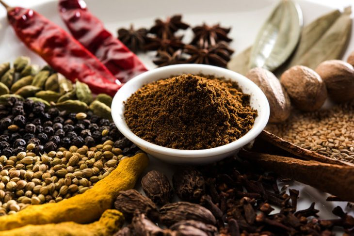 Garam masala powder and dried spices for making it