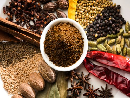 Garam masala and the various spices that make up the blend