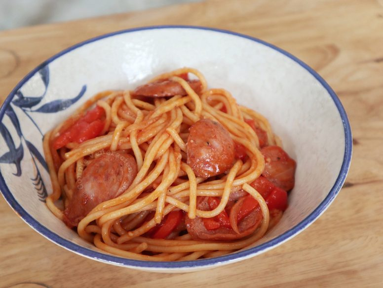Japanese Ketchup Spaghetti in Bowl