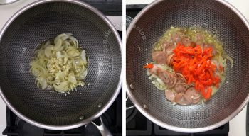 How to cook Japanese ketchup spaghetto (Napolitan), step 1: Saute onion and garlic then add sliced sausaged and bell pepper