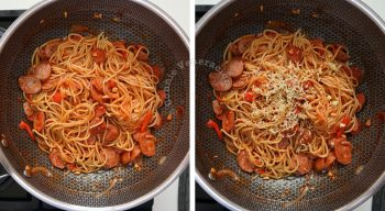 How to cook Japanese ketchup spaghetto (Napolitan), step 3: Add grated Parmesan and toss once more