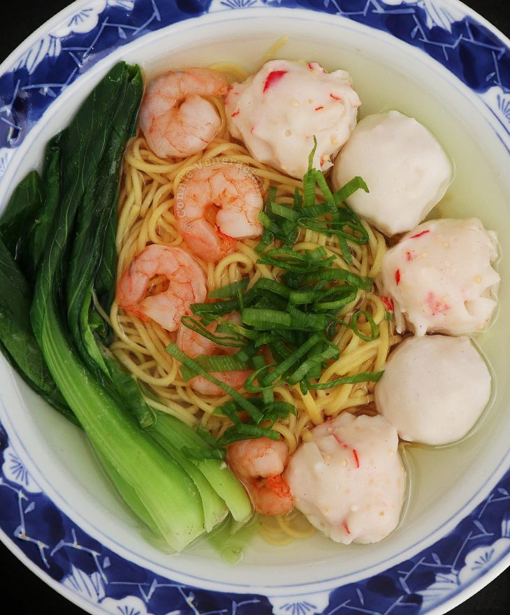 Shrimp and Fish Balls Noodle Soup with Bok Choy and Scallions