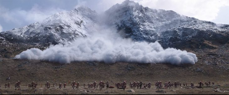Avalanche scene from the live-action adaptation of Mulan | Image credit: Disney
