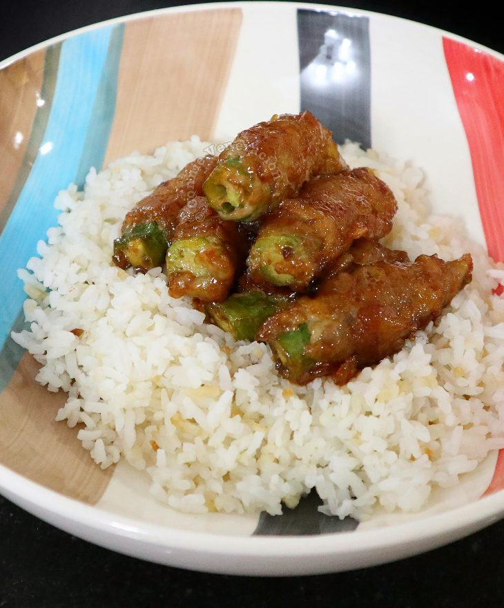Okra wrapped in beef and cooked in teriyaki sauce