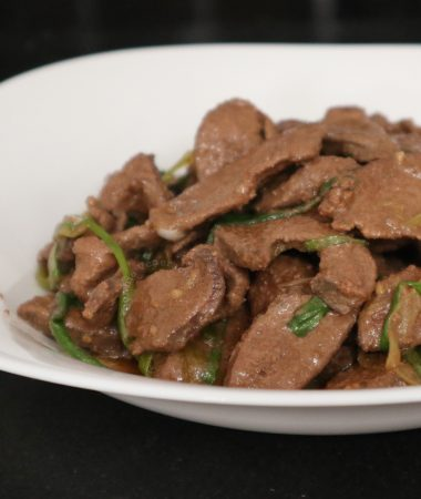 Chinese-style Pork Liver and Spring Onion Stir Fry