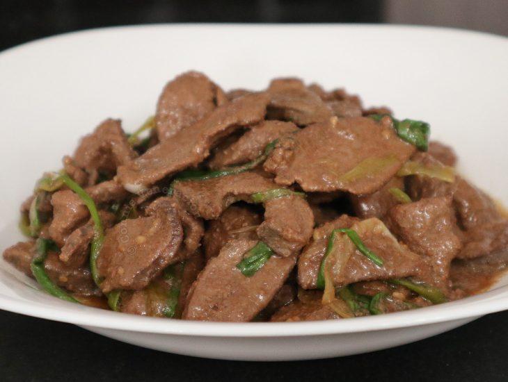 Chinese Pork Liver and Spring Onion Stir Fry