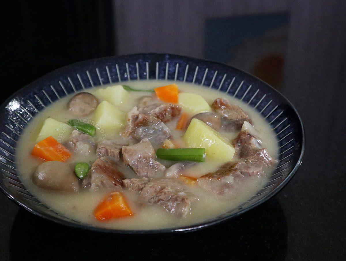 Japanese White (Cream) Stew in Dark Blue Bowl