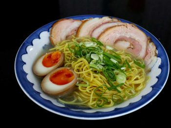 Home cooked ramen with chashu (braised pork belly) and soy sauce eggs