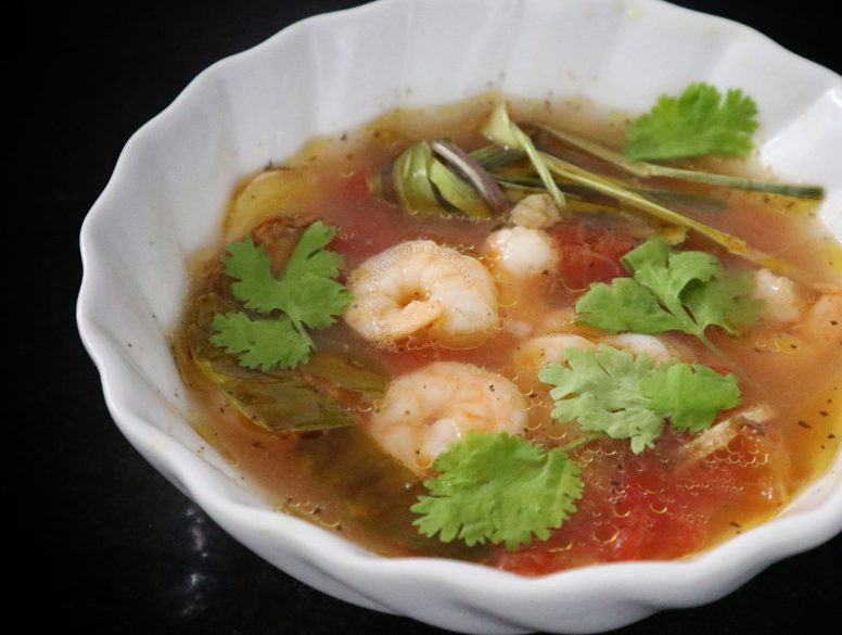 Shrimp Tom Yum in White Bowl
