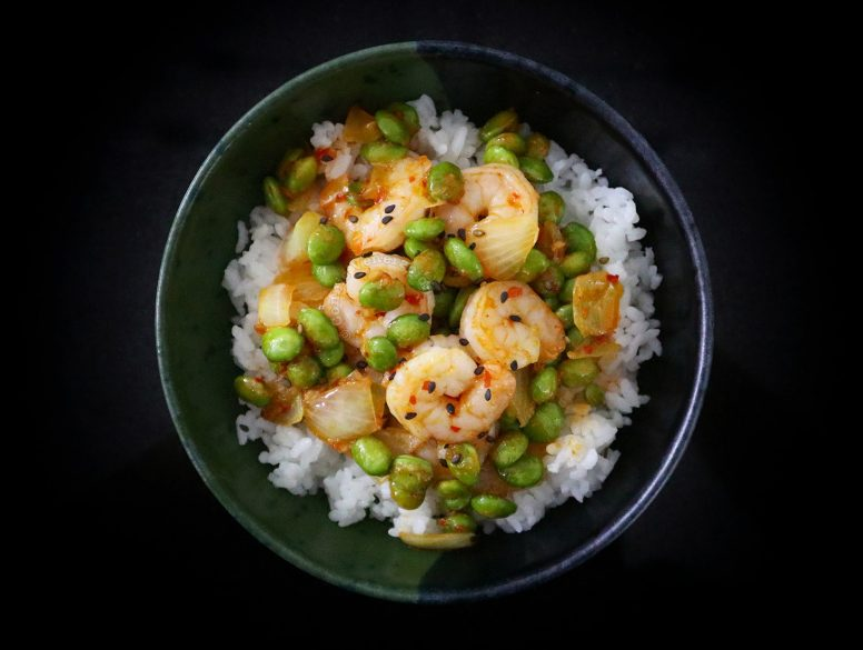 Sweet Spicy Shrimps with Edamame